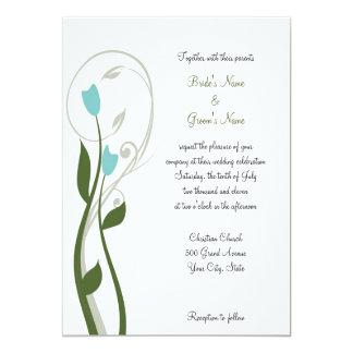 Turquoise Buds Invitation