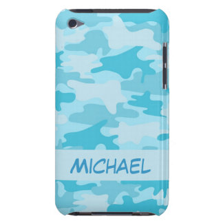 Turquoise Bue Camo Camouflage Personalized Barely There iPod Covers