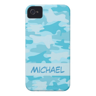 Turquoise Bue Camo Camouflage Personalized iPhone 4 Case-Mate Case