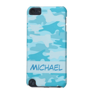 Turquoise Bue Camo Camouflage Personalized iPod Touch 5G Cover
