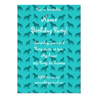 Turquoise bulldog pattern 5x7 paper invitation card