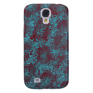 Turquoise Burgundy Swirly Abstract Galaxy S4 Case