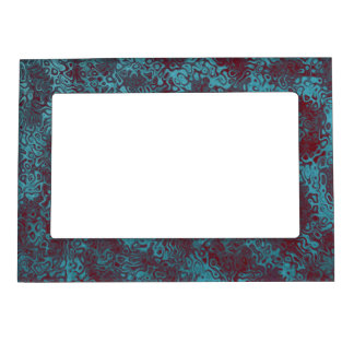 Turquoise Burgundy Swirly Abstract Magnetic Photo Frame