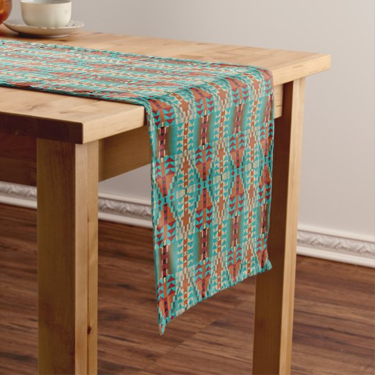Turquoise Burnt Orange Brown Mosaic Pattern Medium Table Runner