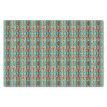 Turquoise Burnt Orange Brown Mosaic Pattern Tissue Paper