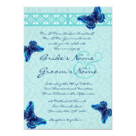 Turquoise Butterflies Damask Wedding Invitation
