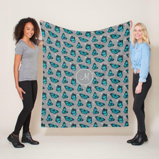 turquoise butterflies doodle flowers monogrammed fleece blanket