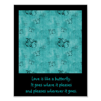Turquoise Butterflies with Love Quote Print