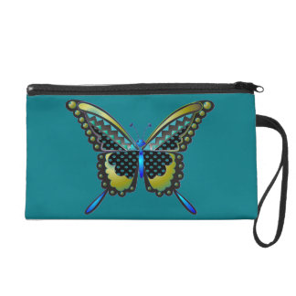 turquoise butterfly 83 wristlet purse