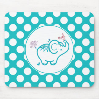 Turquoise Butterfly And Elephant And Purple Flower Mouse Pad