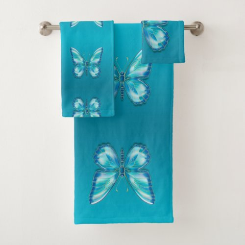 Turquoise butterfly bath towel set. Turquoise butterfly. Artist by Zolotareva. digital raster graphics. This is a Turquoise butterfly. They're butterfly specimens who have a natural camouflage. the Butterfly is a reversal pattern. Float like a butterfly.