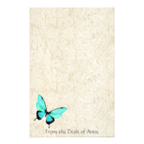 Turquoise Butterfly Faux Handmade Paper Stationery