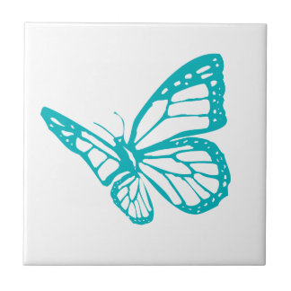 Turquoise Butterfly fly,caterpillar,pattern,insect Ceramic Tile