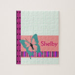 "Turquoise Butterfly Jigsaw Puzzle<br><div class=""desc"">So sweet!  Polka dots,  stripes,  graph paper and a butterfly. Personalize for any name</div>"
