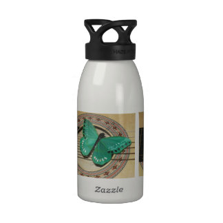 Turquoise Butterfly on Guitar Water Bottle