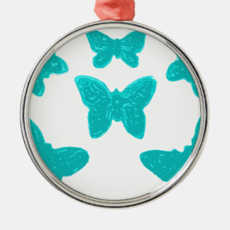 Turquoise Butterfly Pattern Metal Ornament