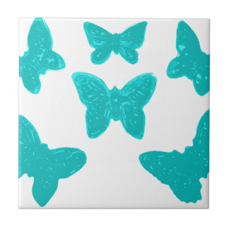 Turquoise Butterfly Pattern Tile