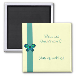 Turquoise Butterfly Ribbon Wedding 2 Inch Square Magnet