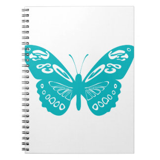 Turquoise Butterfly Spiral Notebook