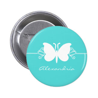 Turquoise Butterfly Swirls Button