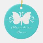 Turquoise Butterfly Swirls Door Hanger Ornament