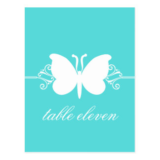 Turquoise Butterfly Swirls Table Postcard