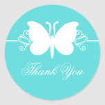 Turquoise Butterfly Swirls Thank You Stickers