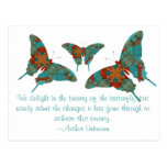 Turquoise Butterfly With Saying Postcard