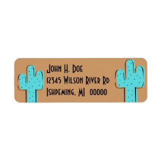 Turquoise Cactus Saddle Brown Return Addr Labels