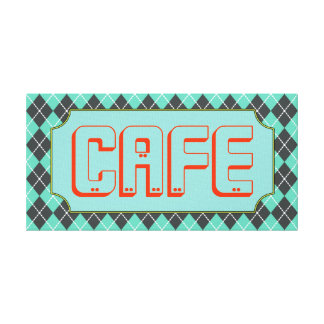 Turquoise Cafe Sign Canvas