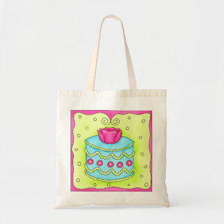 Turquoise Cake with Rose Tote Bag