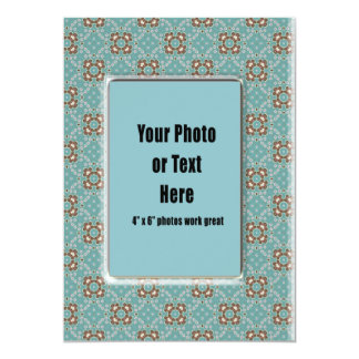 Turquoise Calico Frame - Customizable Card