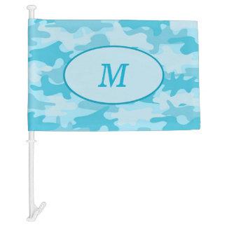 Turquoise Camouflage Monogram Initial Window Car Flag