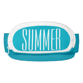 Turquoise Cap-Sac fanny pack for head, Summer Text Visor