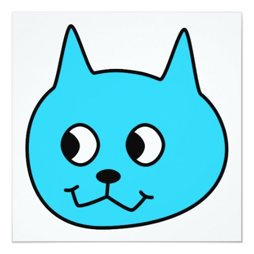 Turquoise Cartoon Cat. 5.25x5.25 Square Paper Invitation Card