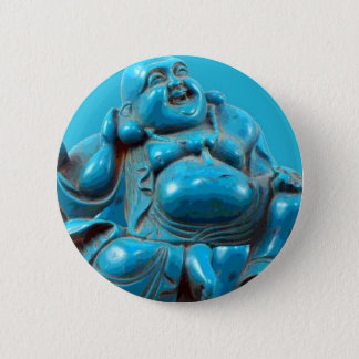 Turquoise Carved Smiling Laughing Happy Buddha Zen Pinback Button