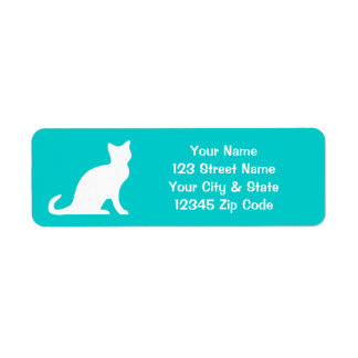 Turquoise cat labels with custom return address
