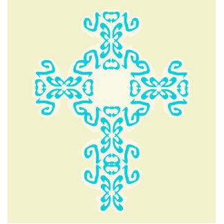 Turquoise Celtic Cross Frosted Background Cutout Cut Out