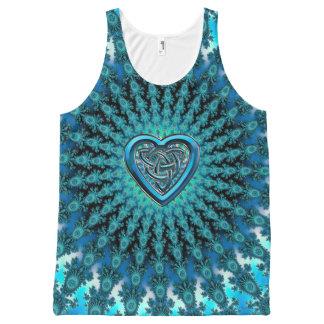 Turquoise Celtic Heart Knot Fractal Mandala All-Over-Print Tank Top