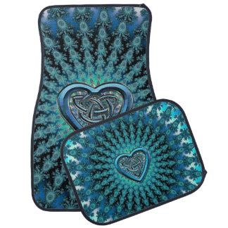 Turquoise Celtic Heart Knot Fractal Mandala Floor Mat