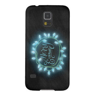 Turquoise Chalk Drawn Merry and Bright Holiday Case For Galaxy S5