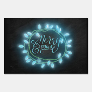 Turquoise Chalk Drawn Merry and Bright Holiday Sign