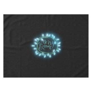 Turquoise Chalk Drawn Merry and Bright Holiday Tablecloth