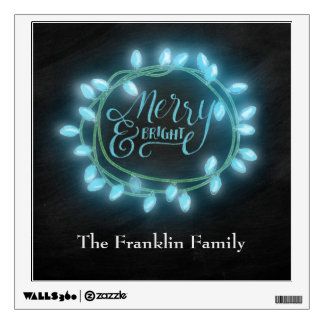 Turquoise Chalk Drawn Merry and Bright Holiday Wall Sticker