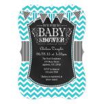 Turquoise Chalkboard Chevron Baby Shower Invite