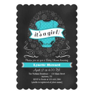 Turquoise Chalkboard Girl Baby Shower Invite