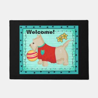 Turquoise Champagne Beige Scottie Dog Welcome Doormat