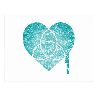 turquoise chart heart postcard