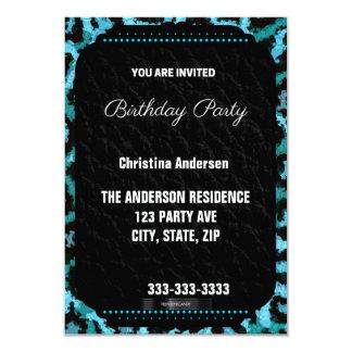 Turquoise Cheetah Birthday Card