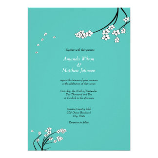 Turquoise Cherry Blossom Wedding Invitations